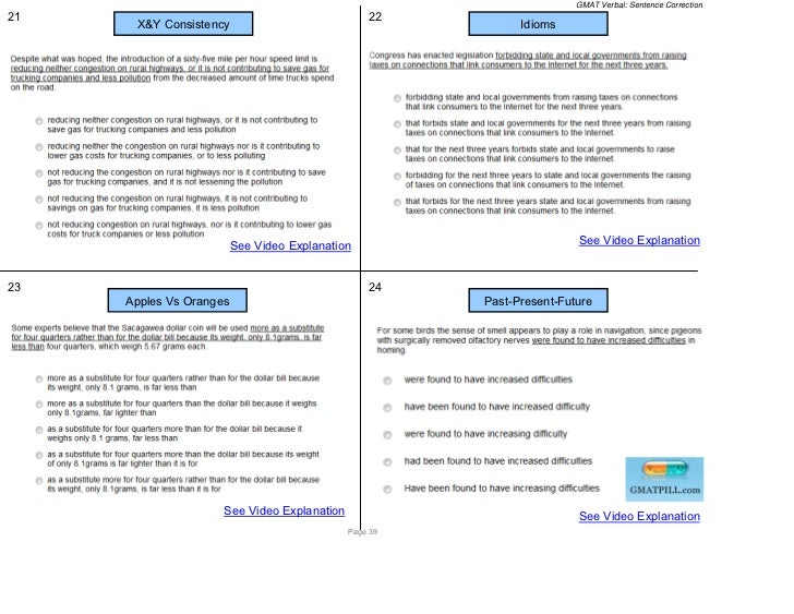 GMAT Verbal: Sentence Correction21                                               22      X&Y Consistency                  ...