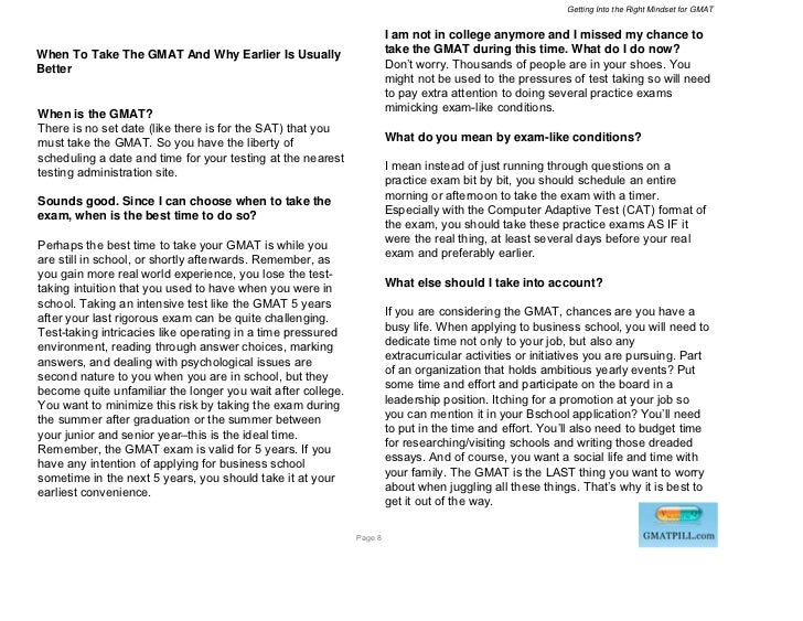 Getting Into the Right Mindset for GMAT                                                                      I am not in c...