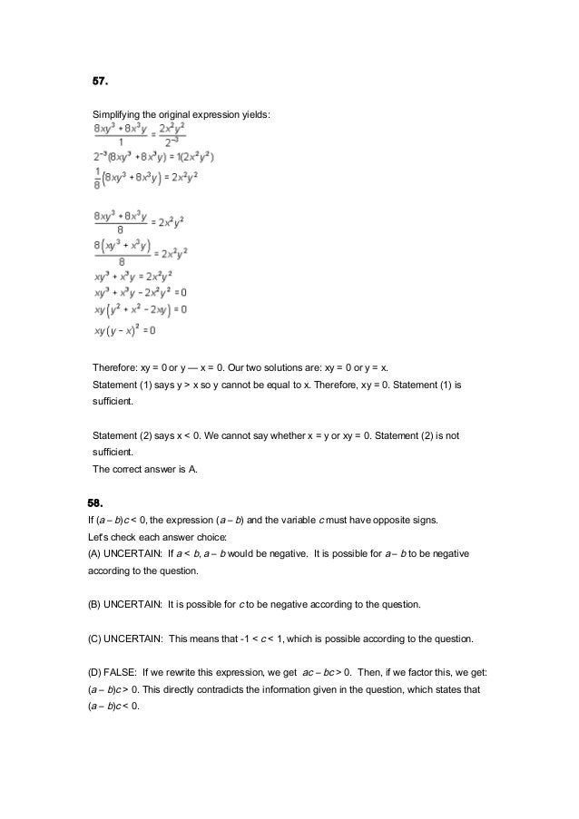 Gmat Quant Topic 3 Inequalities Absolute Value Solutions