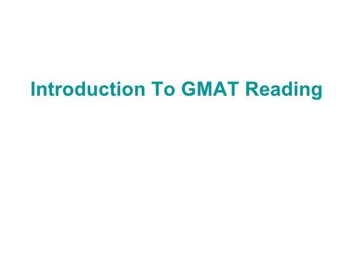 GMAT Reading Prehension Practice Test