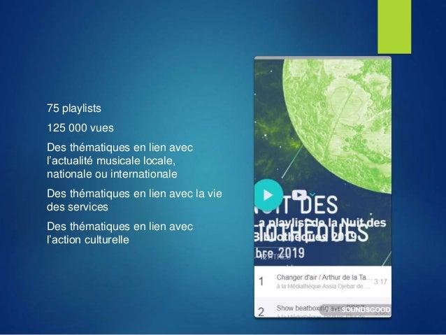 75 playlists 125 000 vues Des thématiques en lien avec l'actualité musicale locale, nationale ou internationale Des thémat...