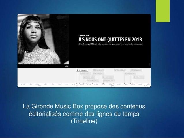 La Gironde Music Box propose des contenus éditorialisés comme des lignes du temps (Timeline)