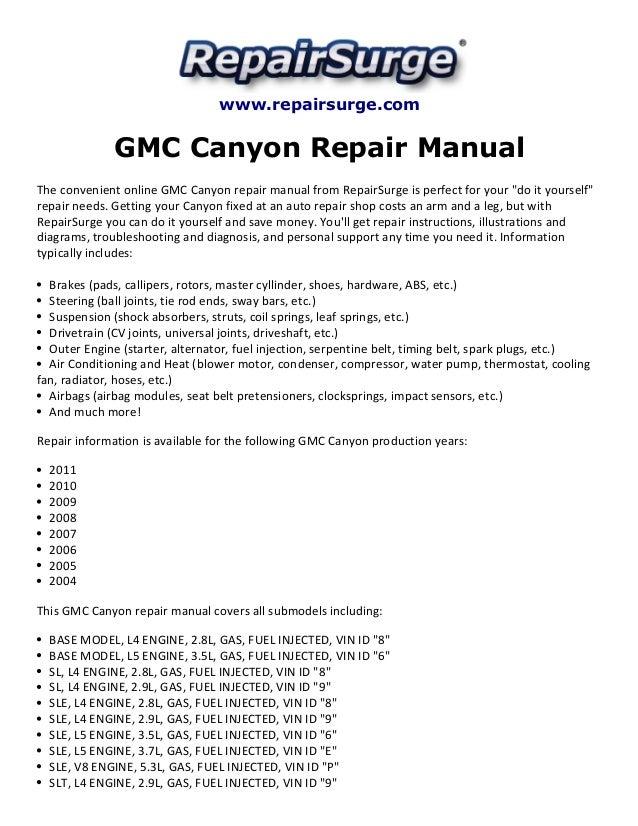 Repairsurge GMC Canyon Repair Manual The Convenient Online: Engine Diagram 2005 GMC Canyon At Jornalmilenio.com