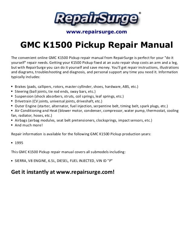 gmc k1500 pickup repair manual 1995 rh slideshare net 1995 GMC Stepside 94 GMC Sierra