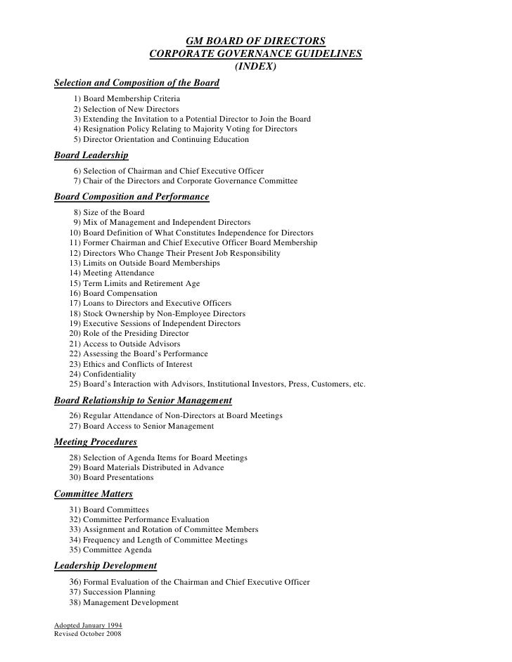GM BOARD OF DIRECTORS                            CORPORATE GOVERNANCE GUIDELINES                                        (I...