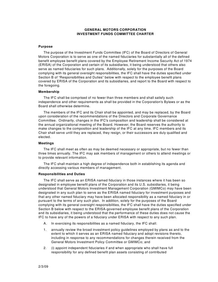 GENERAL MOTORS CORPORATION                           INVESTMENT FUNDS COMMITTEE CHARTER   Purpose    The purpose of the In...