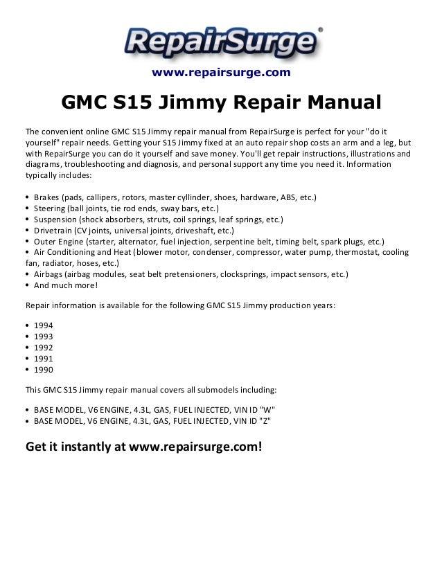 gmc s15 jimmy repair manual 1990 1994 rh slideshare net 1996 GMC Jimmy 1994 GMC Jimmy 2 Door
