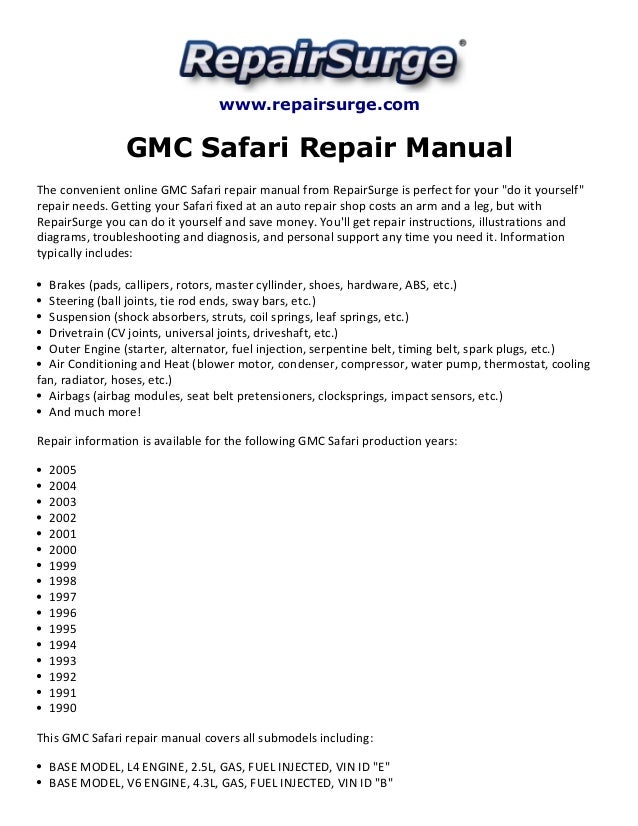 gmc safari repair manual 1990 2005 rh slideshare net 2012 GMC Safari Van 2005 GMC Safari Passengers