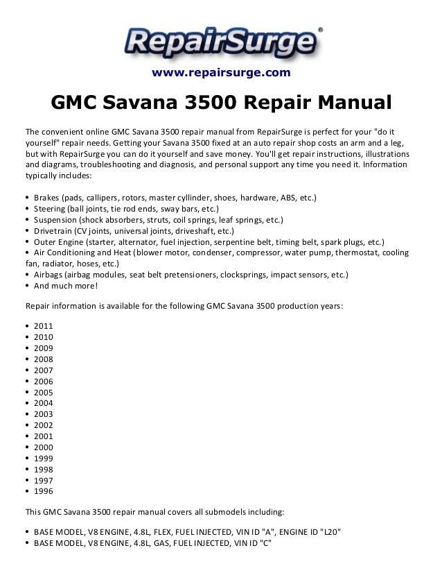 gmc savana 3500 repair manual 1996 2011 rh slideshare net Tractor Service Manuals gmc savana repair manual
