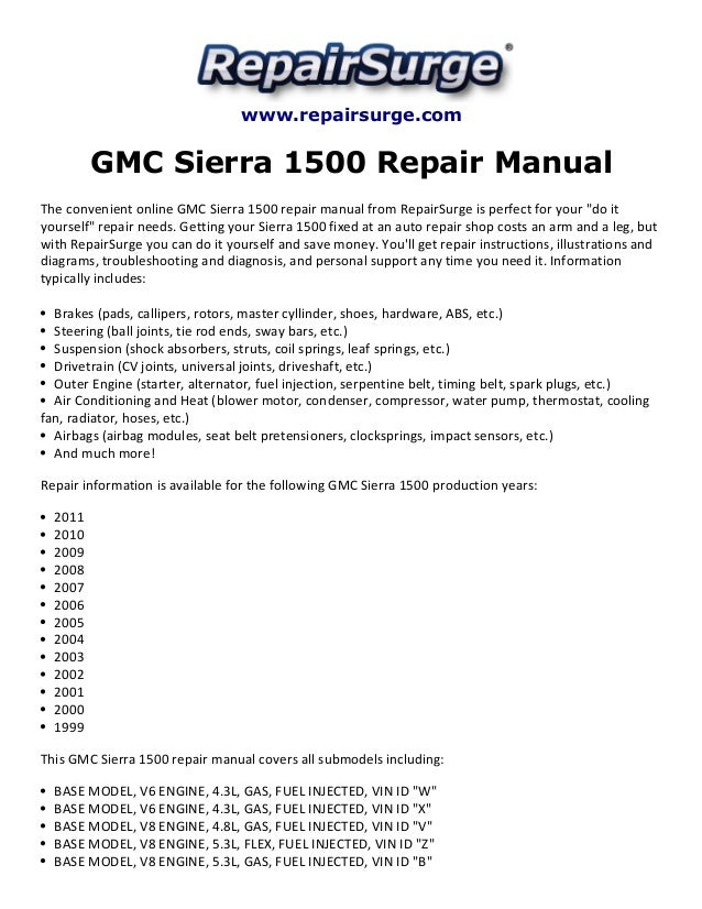 gmc sierra 1500 repair manual 1999 2011 rh slideshare net 2004 gmc sierra 1500 repair manuals pdf 2004 GMC Sierra Regular Cab Short Box