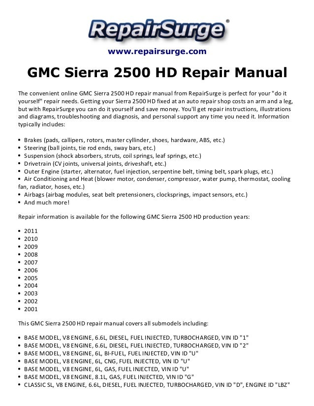 gmc sierra 2500 hd repair manual 2001 2011 rh slideshare net 2008 GMC Sierra 3500HD GMC 3500HD Specs