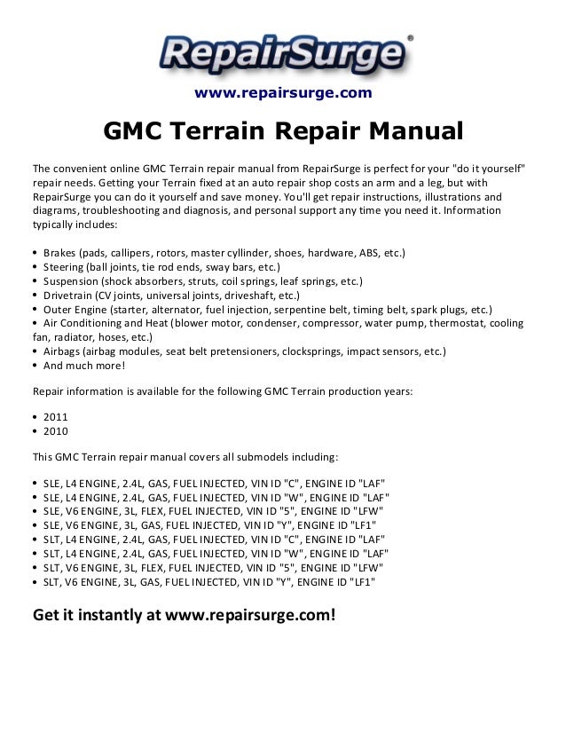 gmc terrain repair manual 2010 2011 2007 GMC Sierra Engine Diagram