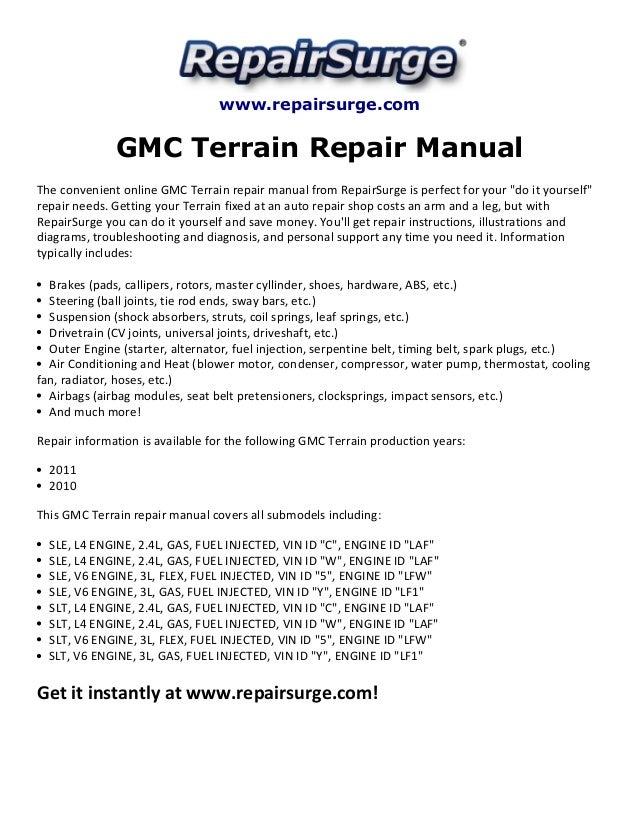 gmc terrain repair manual 2010 2011 repairsurge com gmc terrain repair manual the convenient online gmc terrain repair manual