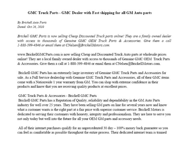 Gmc Truck Parts Cheap Wholesale Gm Auto Parts