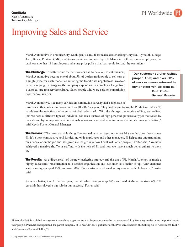 Case Study:Marsh AutomotiveTraverse City, MichiganImproving Sales and Service              Marsh Automotive in Traverse Ci...
