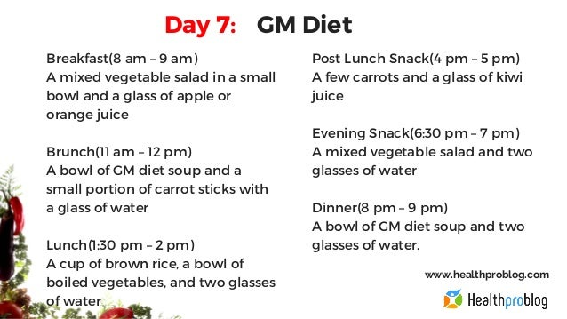 Gm Diet Plan For 7 Days For Non Vegetarian And Vegetarian
