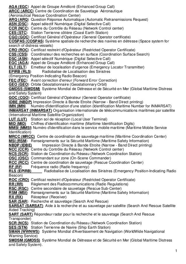 1 AGA (EGC) Appel de Groupe Amélioré (Enhanced Group Call) ARCC (ARCC) Centre de Coordination de Sauvetage Aéronautique (A...