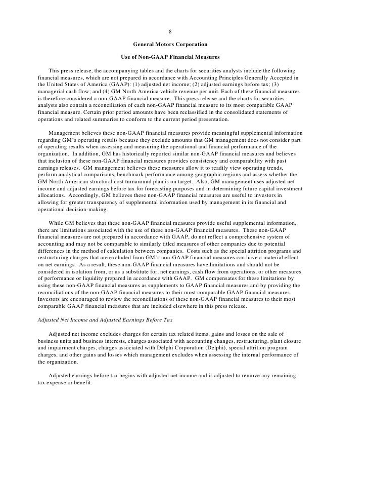 8                                          General Motors Corporation                                     Use of Non-GAAP ...