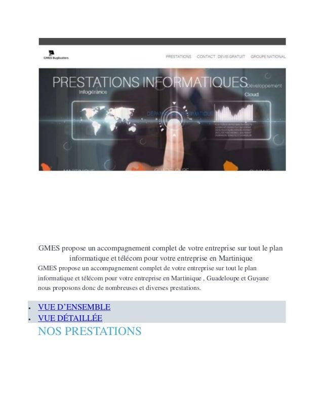GMES propose un accompagnement complet de votre entreprise sur tout le plan informatique et télécom pour votre entreprise ...