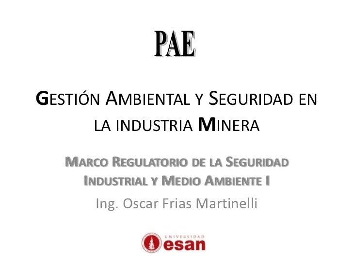 GESTIÓN AMBIENTAL Y SEGURIDAD EN      LA INDUSTRIA MINERA   MARCO REGULATORIO DE LA SEGURIDAD     INDUSTRIAL Y MEDIO AMBIE...