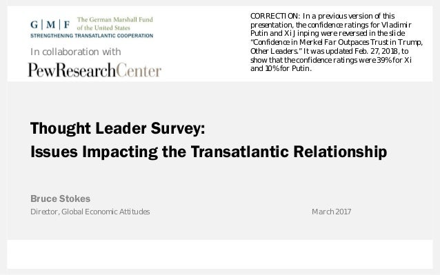 Thought Leader Survey: Issues Impacting the Transatlantic Relationship Bruce Stokes In collaboration with Director, Global...