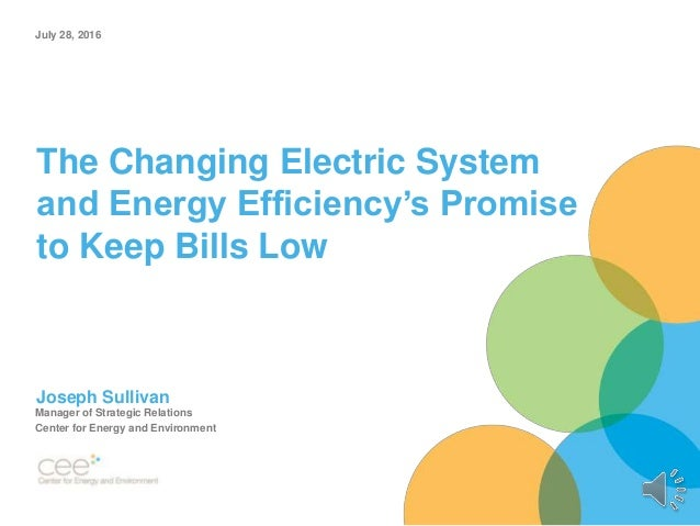 The Changing Electric System and Energy Efficiency's Promise to Keep Bills Low Joseph Sullivan Manager of Strategic Relati...