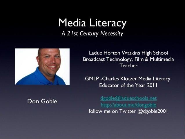 Ladue Horton Watkins High SchoolBroadcast Technology, Film & MultimediaTeacherGMLP -Charles Klotzer Media LiteracyEducator...