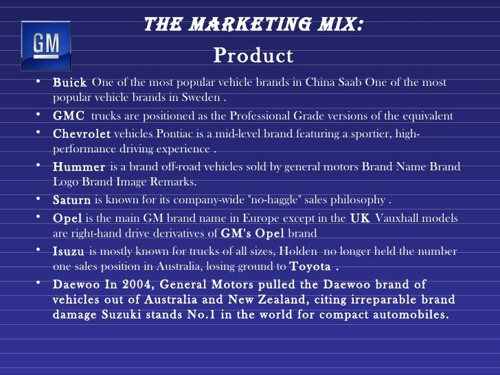 Gm marketing strategy1 1 for Mercedes benz marketing mix