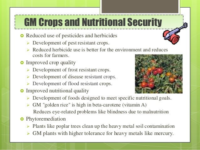 GM Crops and Nutritional Security  Reduced use of pesticides and herbicides  Development of pest resistant crops.  Redu...