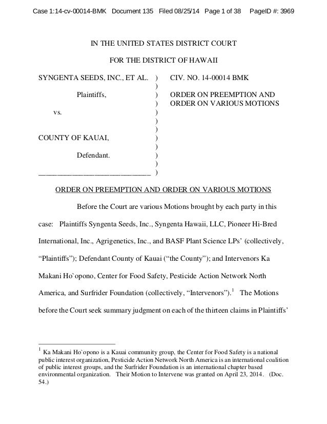 Case 1:14-cv-00014-BMK Document 135 Filed 08/25/14 Page 1 of 38 PageID #: 3969  IN THE UNITED STATES DISTRICT COURT  FOR T...