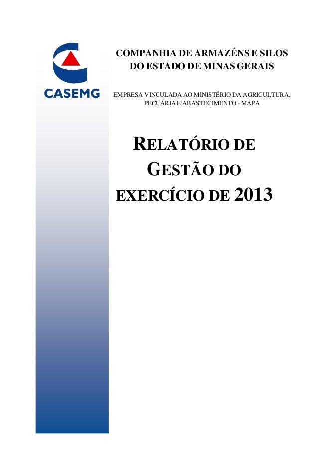 RELATÓRIO DE GESTÃO DO EXERCÍCIO DE 2013 COMPANHIA DE ARMAZÉNS E SILOS DO ESTADO DE MINAS GERAIS EMPRESA VINCULADA AO MINI...