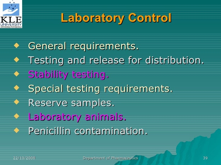 Requirements for expiration dating and stability testing