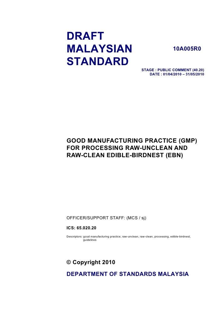 DRAFT MALAYSIAN                                                                       10A005R0  STANDARD                  ...