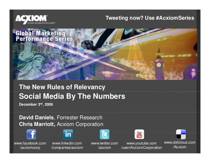 Tweeting now? Use #AcxiomSeries       The New Rules of Relevancy   Social Media By The Numbers   December 3rd, 2009     Da...