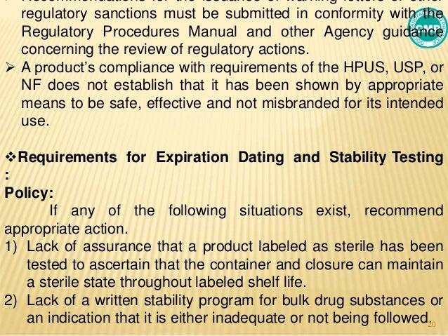 Regulatory procedures manual fdating