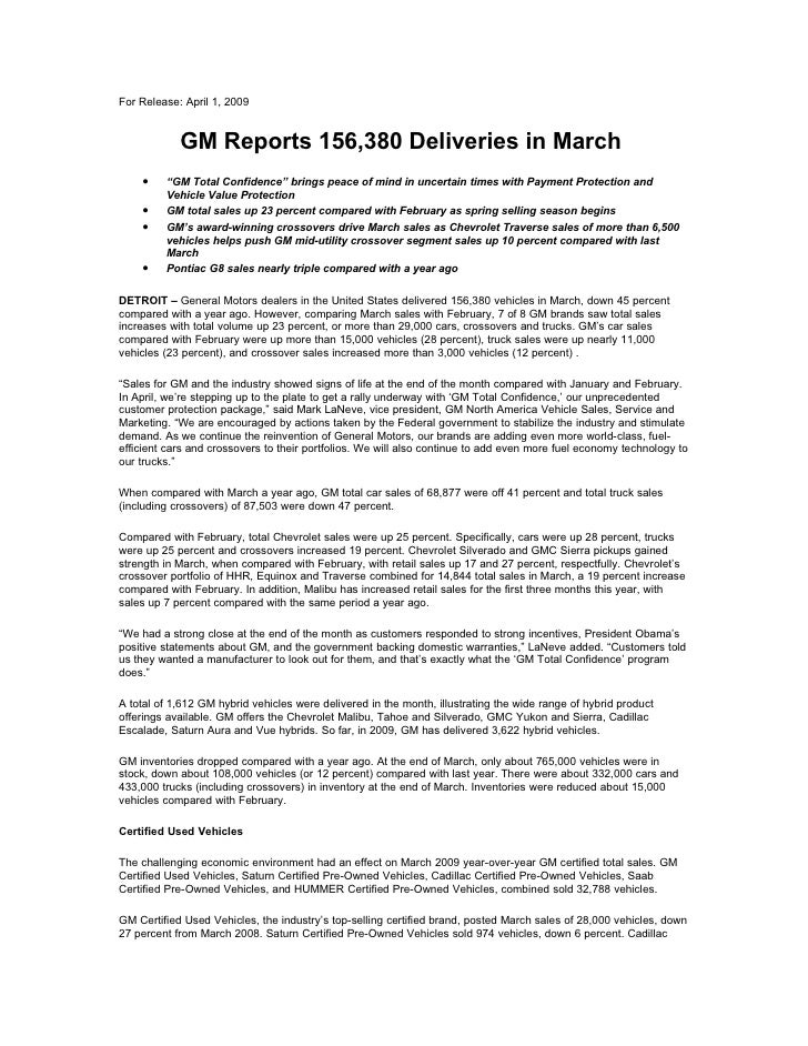"For Release: April 1, 2009               GM Reports 156,380 Deliveries in March     •    ""GM Total Confidence"" brings peac..."