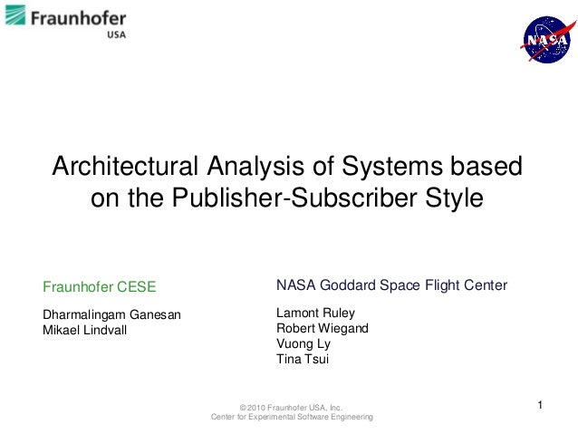Architectural Analysis of Systems based    on the Publisher-Subscriber StyleFraunhofer CESE                         NASA G...