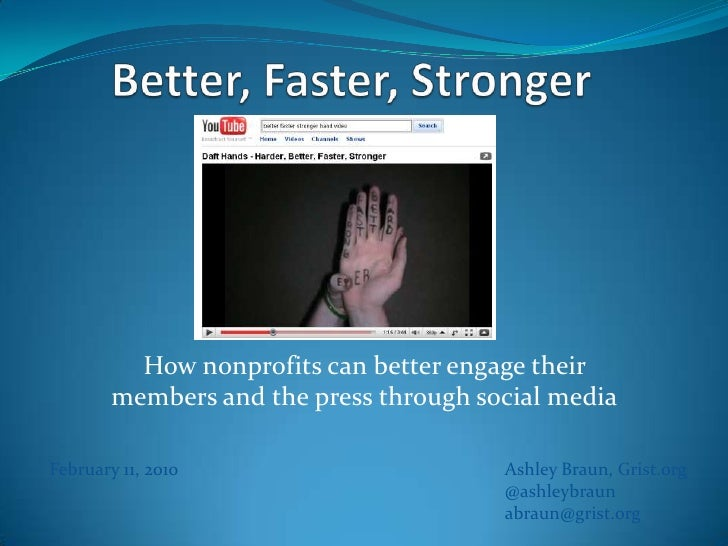 Better, Faster, Stronger <br />How nonprofits can better engage their members and the press through social media<br />Ashl...