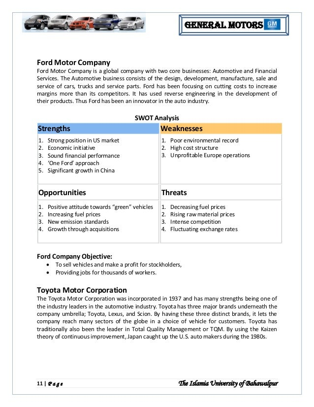 an internal and external analysis of general motors position in 2009 Looking for general motors company swot analysis strong position in the us automotive market despite the company's bankruptcy and reorganization in 2009, the company remained the largest automotive manufacturer in the us.