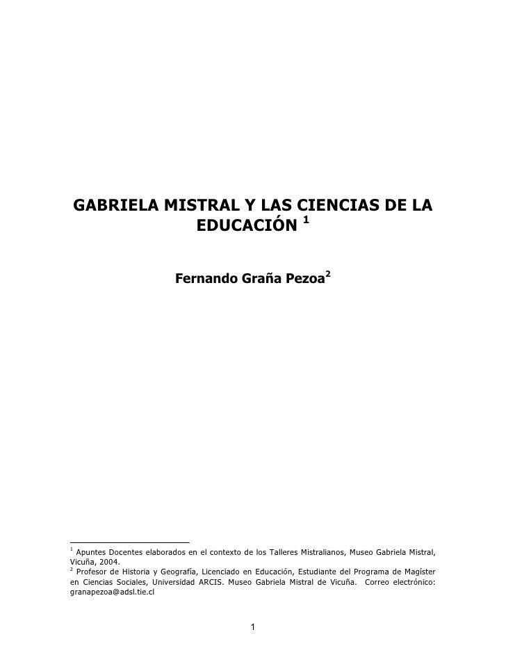 Gabriela Mistral y las Ciencias de la Educacion