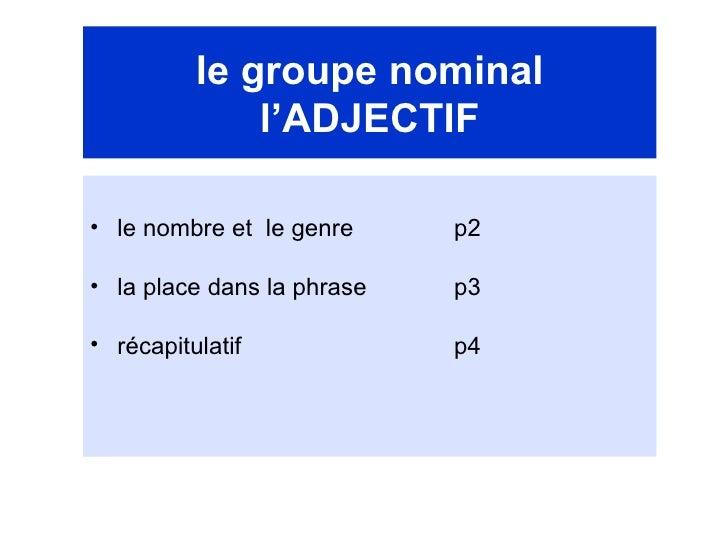 le groupe nominal l'ADJECTIF <ul><li>le nombre et  le genre  p2 </li></ul><ul><li>la place dans la phrase  p3 </li></ul><u...