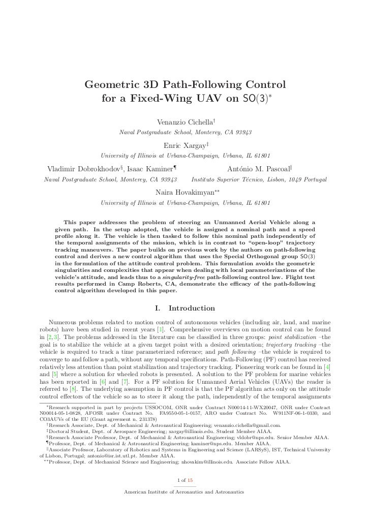 Geometric 3D Path-Following Control                     for a Fixed-Wing UAV on SO(3)∗                                    ...