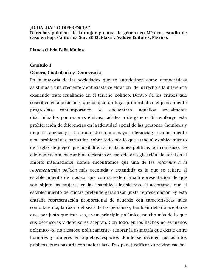 ¿IGUALDAD O DIFERENCIA?Derechos políticos de la mujer y cuota de género en México: estudio decaso en Baja California Sur: ...