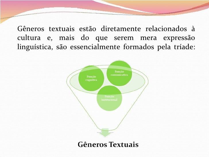 Gêneros textuais estão diretamente relacionados àcultura e, mais do que serem mera expressãolinguística, são essencialment...