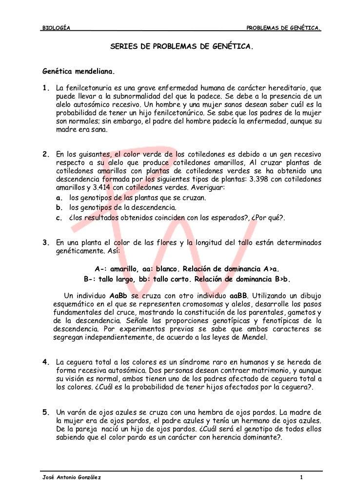 BIOLOGÍA                                                     PROBLEMAS DE GENÉTICA.                        SERIES DE PROBL...