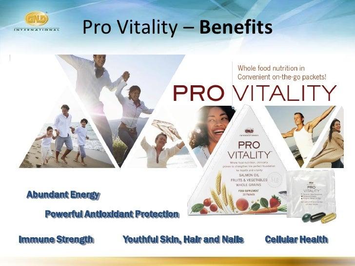 Pro Vitality – Benefits      Abundant Energy      Powerful Antioxidant Protection  Immune Strength        Youthful Skin, H...