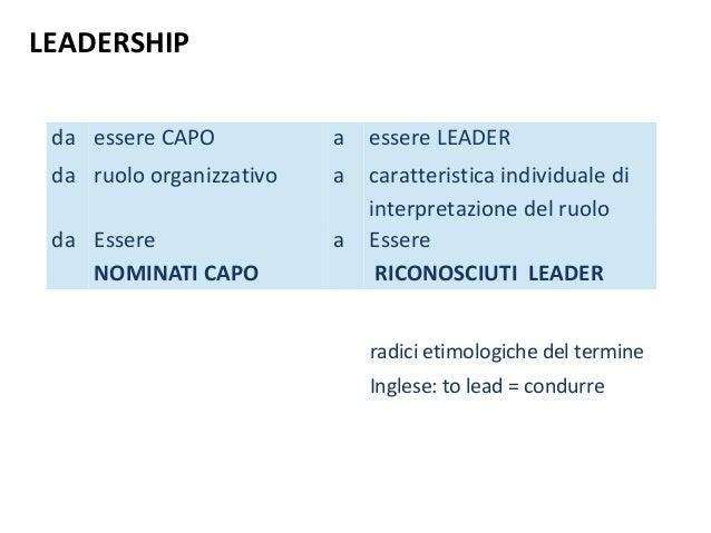 LEADERSHIP  da essere CAPO a essere LEADER  da ruolo organizzativo a caratteristica individuale di  interpretazione del ru...
