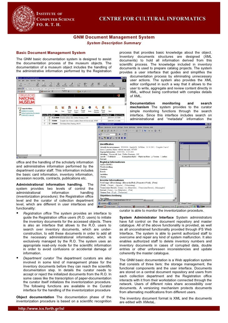 INSTITUTE OF              COMPUTER SCIENCE                            CENTRE FOR CULTURAL INFORMATICS              FO. R. ...