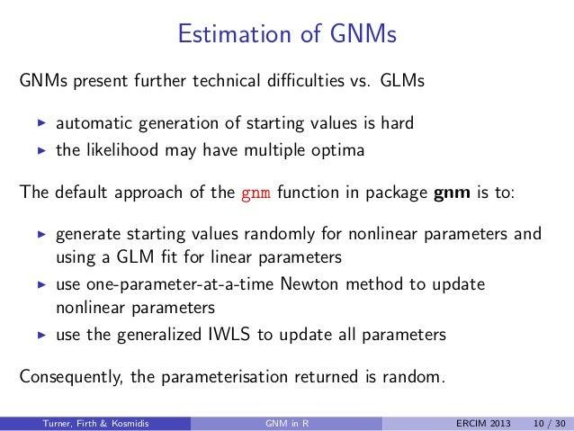 Generalized Nonlinear Models in R