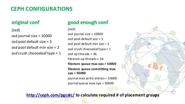 CEPH CONFIGURATIONS original conf [osd] osd journal size = 10000 osd pool default size = 3 osd pool default min size = 2 o...